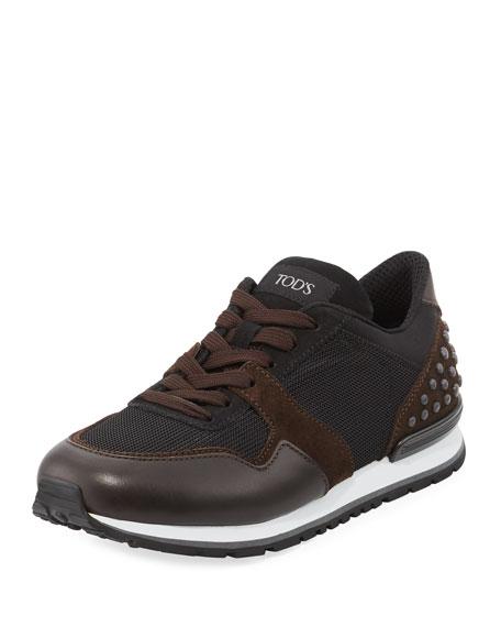 Leather Trainer Sneaker, Black Brown